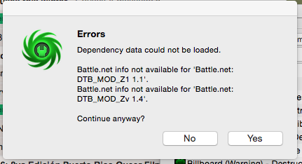 Publishing: Document dependency does not specify a battle net file