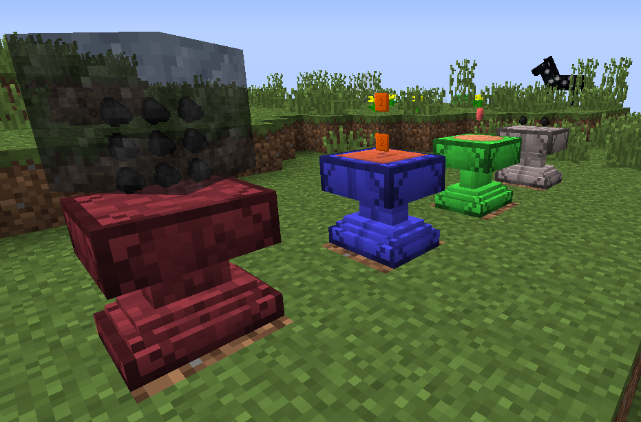 Crafting Anvils display their grid and results in the world