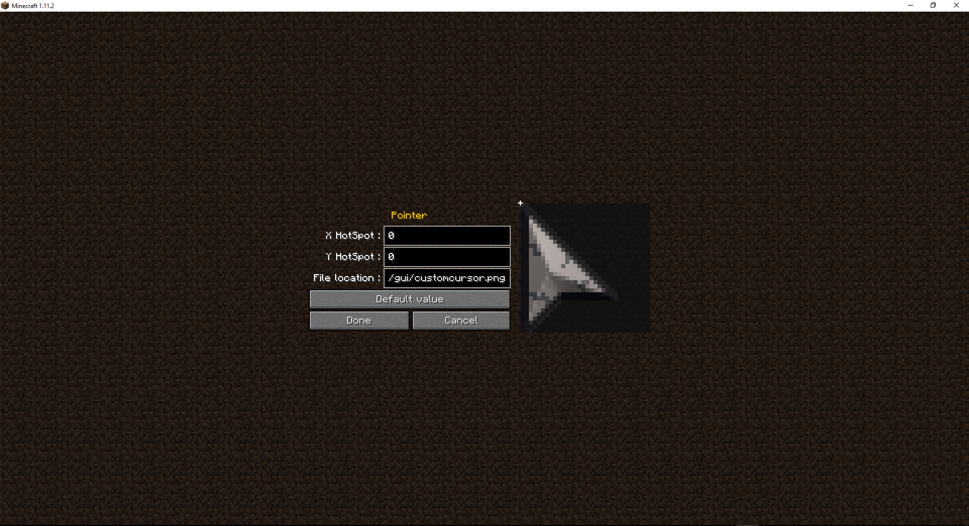 CursorMod 1.2 cursor editor -- A menu to edit hotspot and file location of the cursor