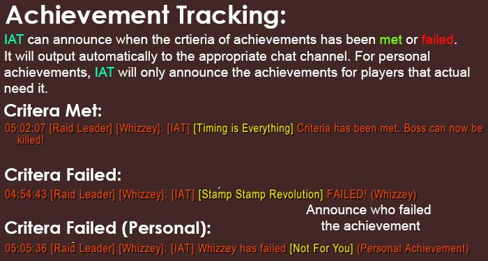 Instance Achievement Tracker - Addons - World of Warcraft
