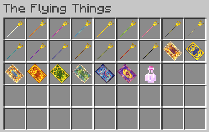 The Flying Things tab on minecraft