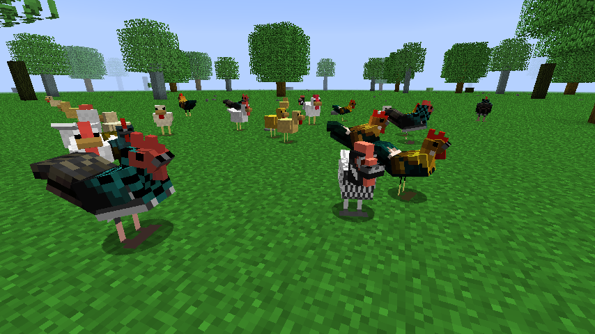 Genetic mobs! Lots of chicken varieties, all of which can crossbreed!