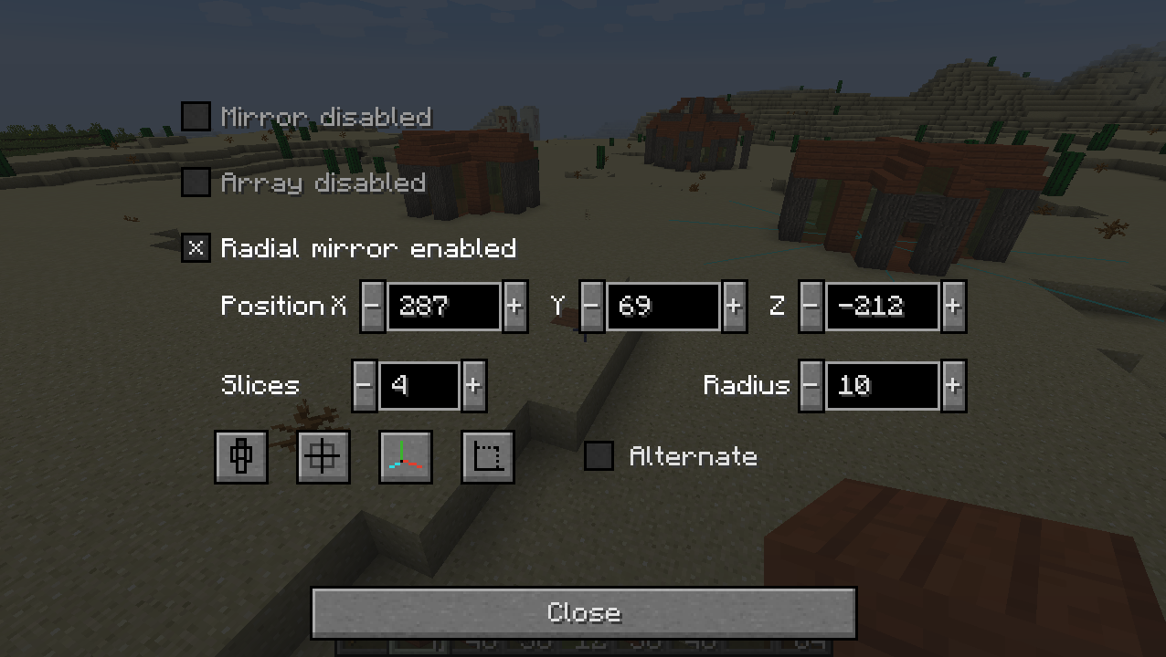 Radial mirror settings