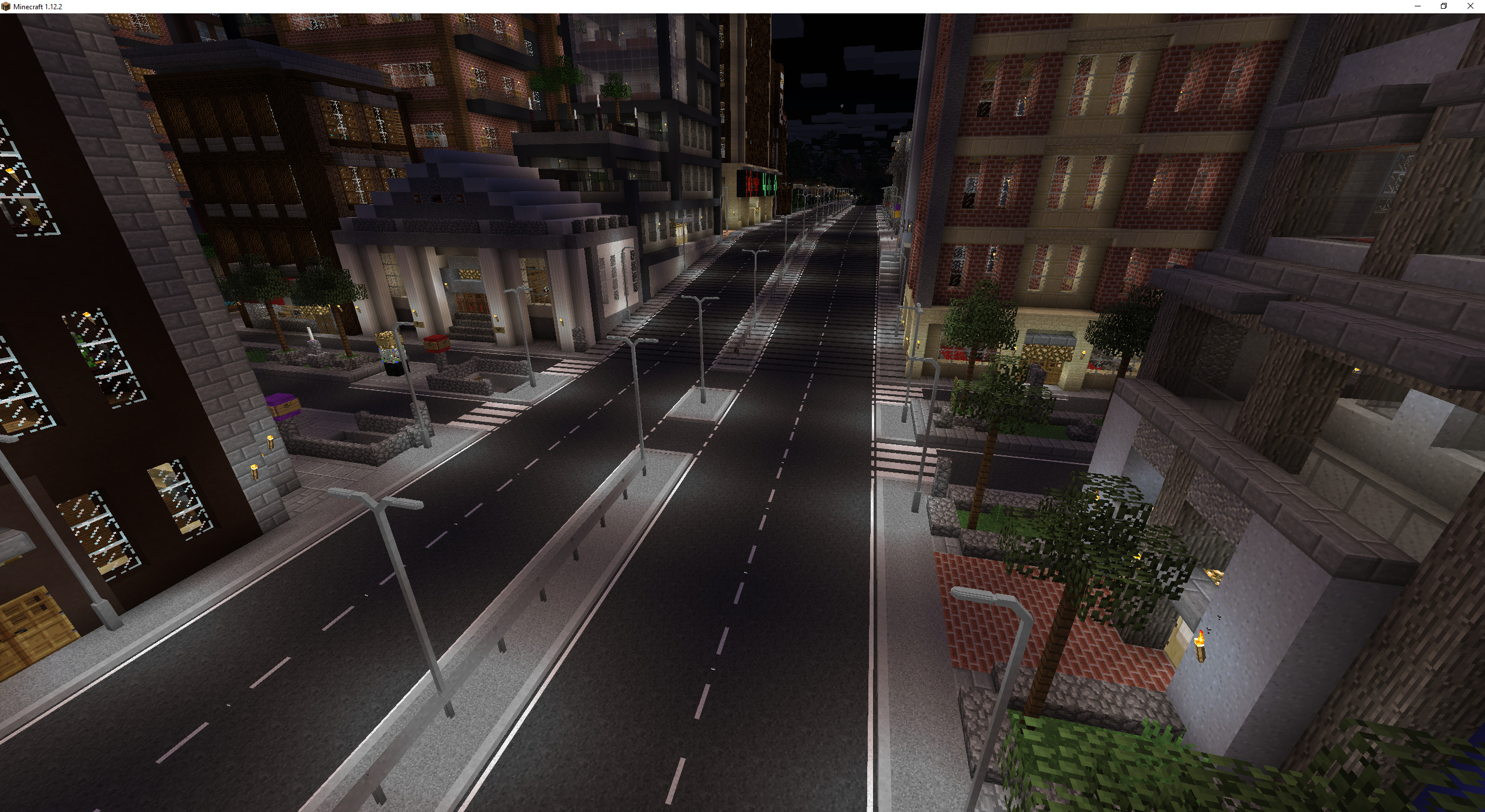 A city road at night