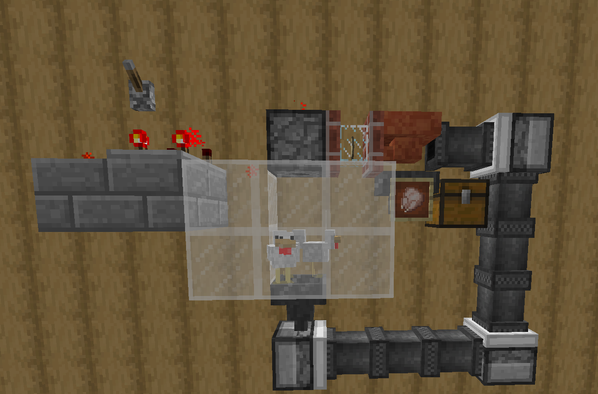 An automated chicken farm made with Essentials