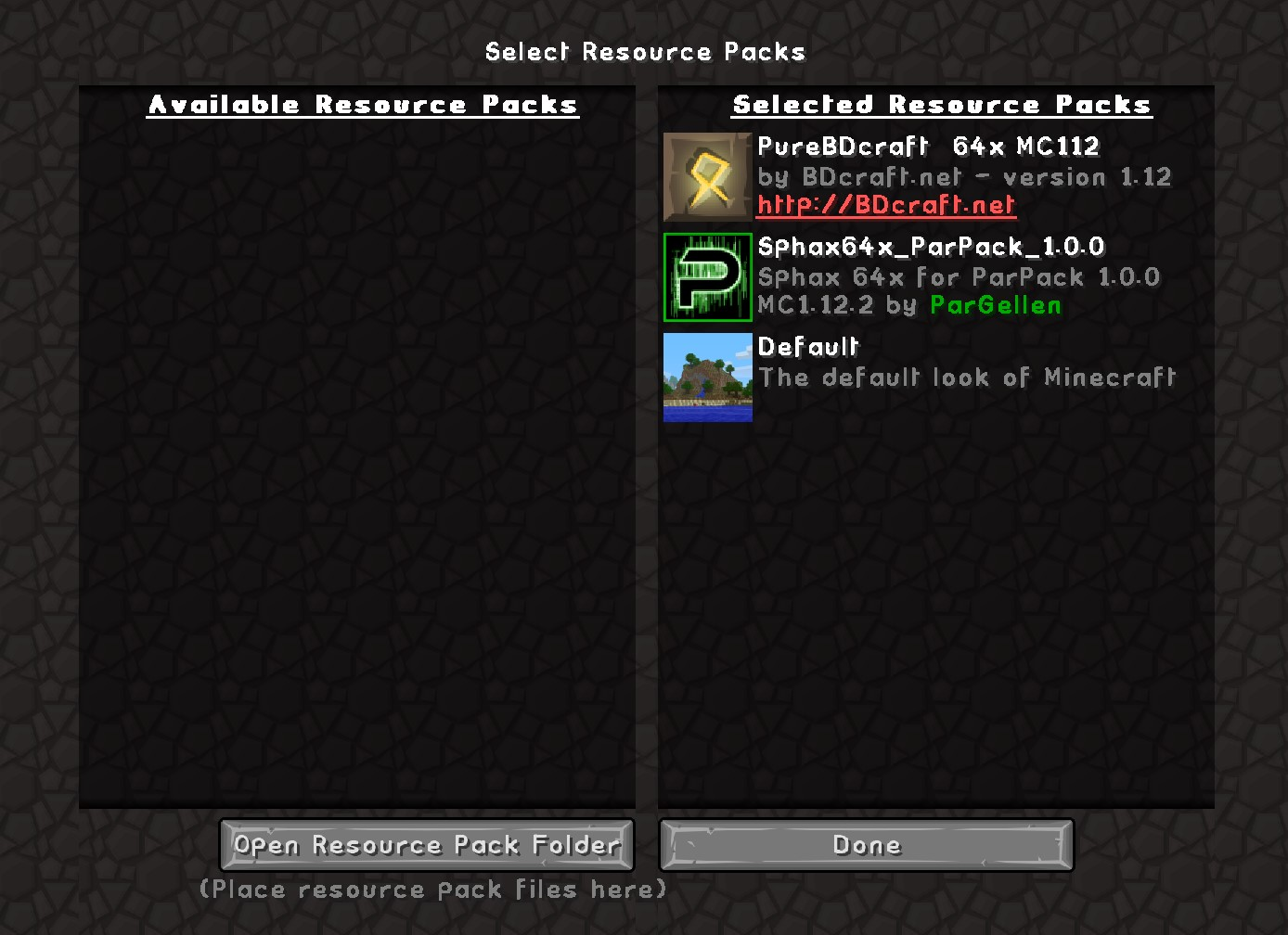 Resource Pack Example Screen