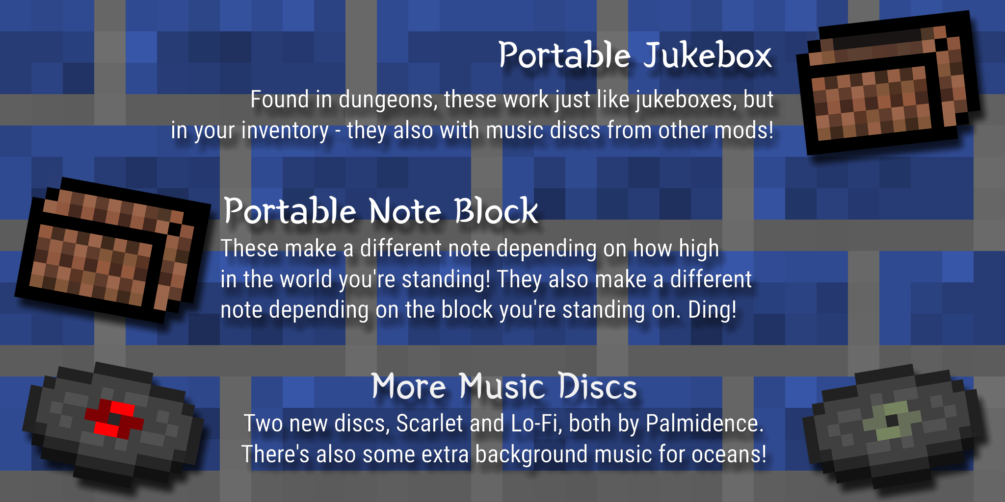 The portable jukebox, portable noteblock, and the two records
