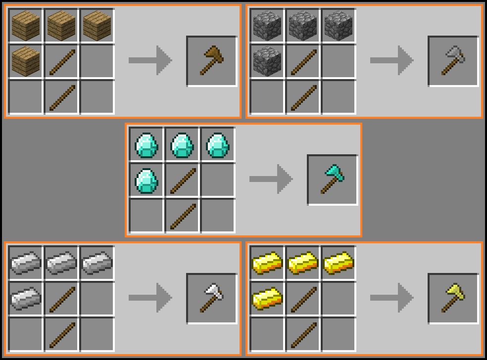 Как сделать кирку топор мотыгу лопату в майнкрафте