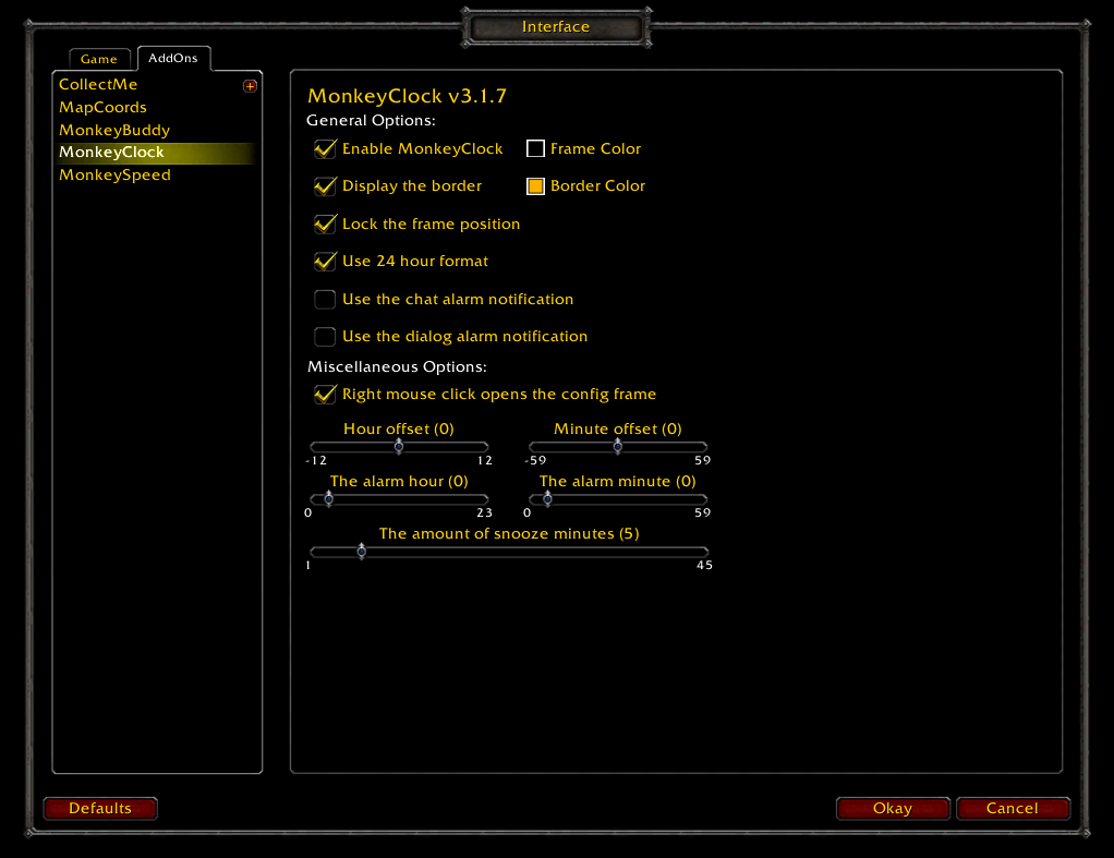 Interface Options