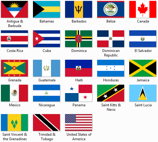 North Central America Caribbean Flagszip Files North - north flags