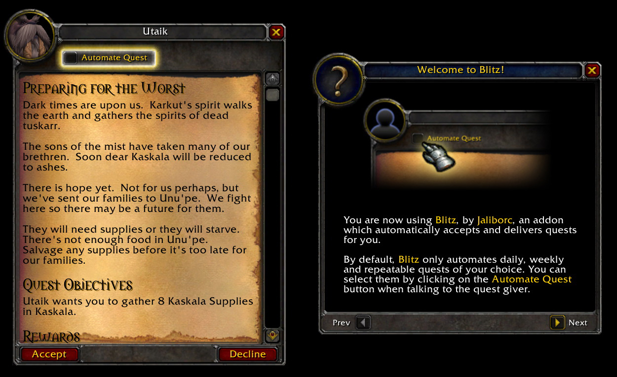 Overview Blitz Quest Turn In Addons Projects Wow Curseforge