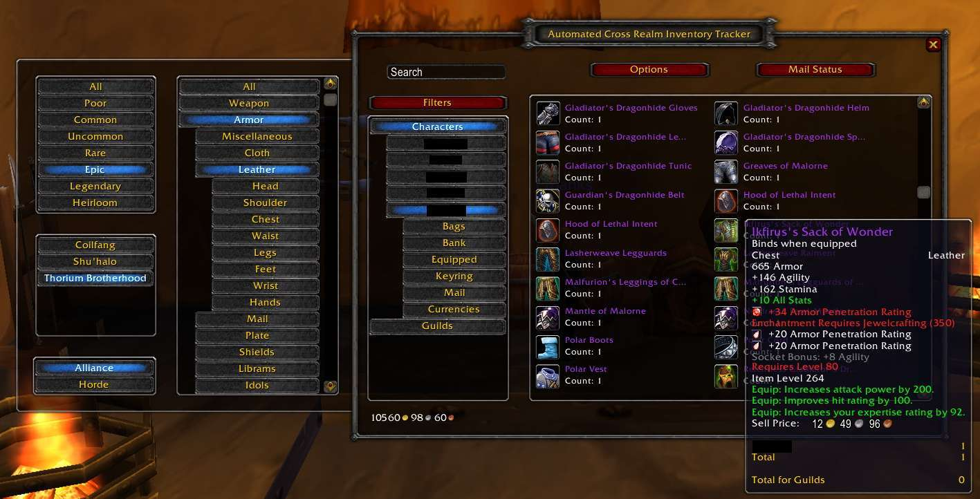 overview automated cross realm inventory tracker addons