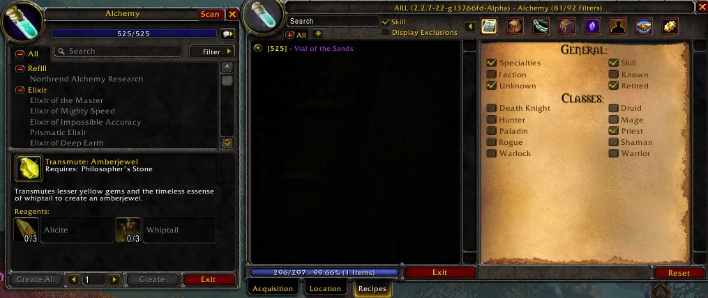 Overview - Ackis Recipe List - Addons - Projects - WowAce