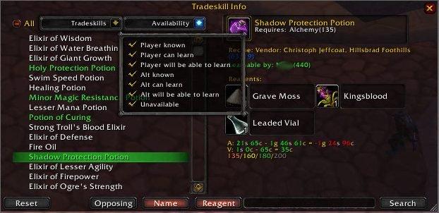 Overview - TradeSkillInfo - Addons - Projects - WowAce